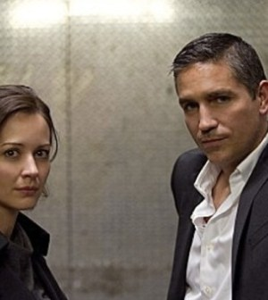 Amy Acker and Jim Caviezel in the 'Firewall' episode of CBS' Person of Interest