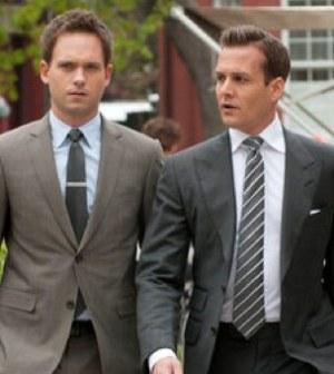Patrick J. Adams as Mike Ross, Gabriel Macht as Harvey Specter -- (Photo by: Christos Kalohoridis/USA Network)