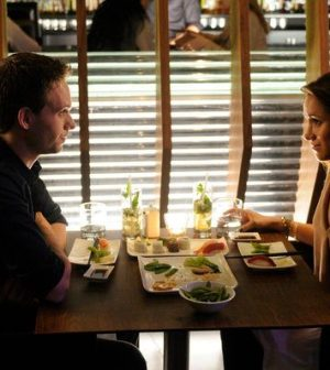Patrick J Adams and Meghan Markle in Suits. (Photo by: Steve Wilkie/USA Network)