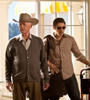 Larry Hagman as J.R. Ewing and Josh Henderson as John Ross Ewing in Dallas. Photo: © TNT