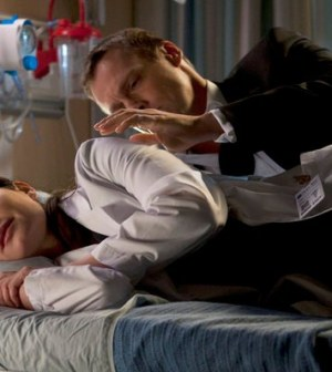 Pictured: (l-r) Erica Durance as Alex Reid, Michael Shanks as Charles Harris -- (Photo by: Caitlin Cronenberg/NBC)