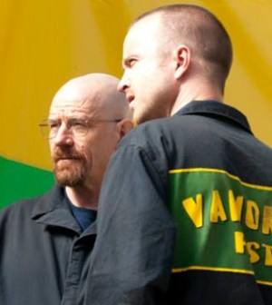 Bryan Cranston and Aaron Paul in Breaking Bad. Photo by Ursula Coyote/AMC