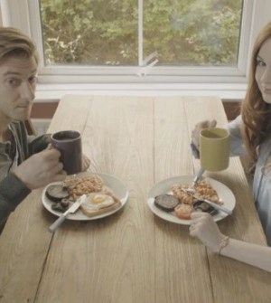 Arthur Darvill and Karen Gillan in Pond Life. Image © BBC
