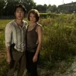 Glenn (Steven Yeun) and Maggie Greene (Lauren Cohan) - The Walking Dead - Photo Credit: Frank Ockenfels/AMC