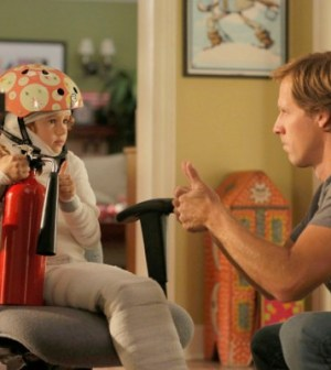 Ben (Nat Faxon, R) and Maddie (Maggie Elizabeth Jones, L) get creative with the contents of Kate's emergency kit. Co. Cr: Jennifer Clasen/FOX