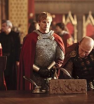 Bradley James (l) and John Shrapnel (r) in Merlin. Image © BBC