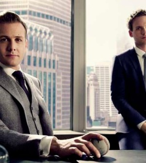 Gabriel Macht (l) and Patrick J. Adams (r) in Suits. Image © USA