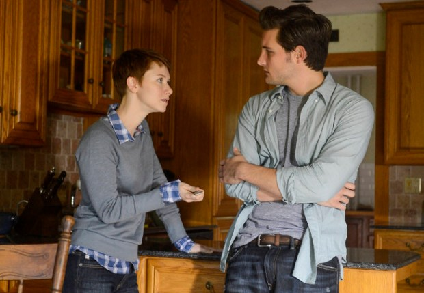 """Emma (Valorie Curry, L) hands Jacob (Nico Tortorella, R) a knife in the """"Mad Love"""" episode of THE FOLLOWING airing Monday, Feb. 11 (9:00-10:00 PM ET/PT) on FOX. ©2013 Fox Broadcasting Co. CR: David Giesbrecht/FOX"""
