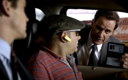 Neal and Mozzie (Matt Bomer, Willie Garson) are confronted by Peter Burke (Tim DeKay) (Image © USA Network)