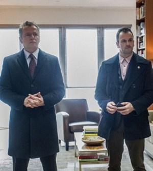 Aidan Quinn and Jonny Lee Miller in Elementary. Image © CBS
