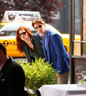 Debra Messing as Julia Houston, Christian Borle as Tom Levitt -- (Photo by: Will Hart/NBC)