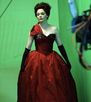 "Rose McGowan behind the scenes during the filming of ""The Miller's Daughter"""