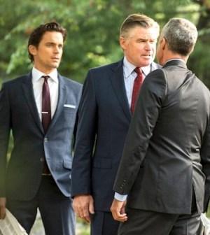 Neal and his father (Matt Bomer, Treat Williams) confront Senator Pratt (Titus Welliver) -- (Photo by: David Giesbrecht/USA Network)