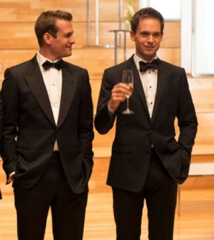 Gabriel Macht as Harvey Specter, Patrick J. Adams as Mike Ross-- (Photo by: Christos Kalohoridis/USA Network)