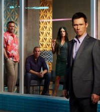 (l-r) Bruce Campbell as Sam Axe, Coby Bell as Jesse Porter, Gabrielle Anwar as Fiona Glenanne, Jeffrey Donovan as Michael Westen -- (Photo by: Robert Ascroft/USA Network)
