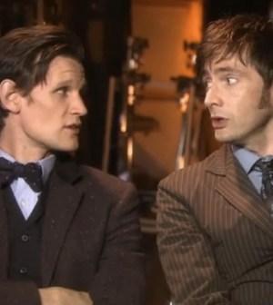 Matt Smith (l) and David Tennant (r) Discuss Doctor Who's 50th Anniversary Episode. Image © BBC