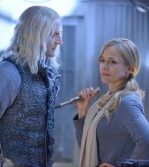 Pictured: (l-r) Tony Curran as Datak Tarr, Julie Benz as Mayor Amanda Rosewater -- (Photo by: Ben Mark Holzberg/Syfy)