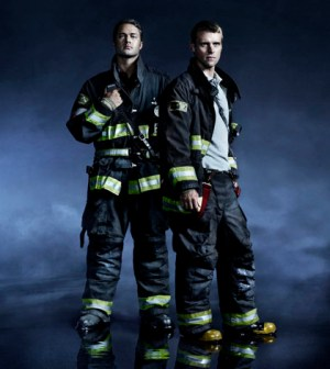 Pictured: (l-r) Taylor Kinney as Kelly Severide, Jesse Spencer as Matthew Casey -- (Photo by: Nino Munoz/NBC)