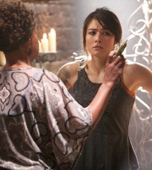 Pictured (L-R): Karen Livers as Agnes and Daniella Pineda as Sophie -- Photo: Annette Brown /The CW