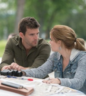 Pictured: (l-r) Lucas Bryant as Nathan Wuornos, Emily Rose as Audrey Parker -- (Photo by: Michael Tompkins/Syfy)