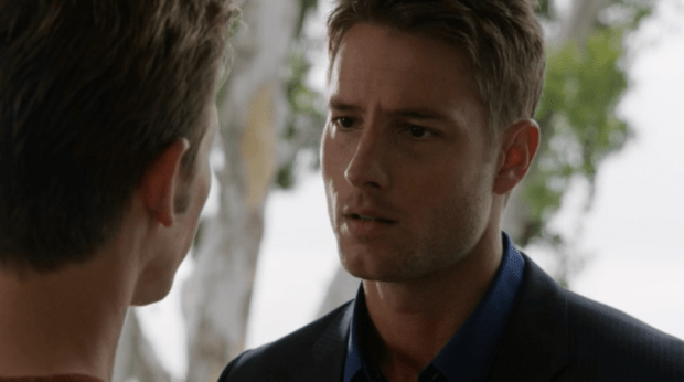 Pictured: (L) Gabriel Mann as Nolan. (R) Justin Hartley as Patrick. He has puppy eyes. Look! Image © ABC.