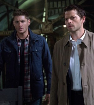 Pictured (L-R): Jensen Ackles as Dean and Misha Collins as Castiel -- Credit: Jack Rowand/The CW