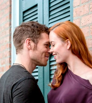 Pictured (L-R): Joseph Morgan as Klaus and Elyse Levesque as Genevieve - Photo: Skip Bolen/The CW