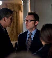 Pictured left to right: Jim Caviezel, Michael Emerson and Sarah Shahi Photo: John Paul Filo/CBS