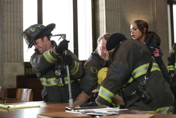 Pictured: (l-r) Jesse Spencer as Matthew Casey, Christian Stolte as Mouch, Joe Minoso as Joe Cruz, Monica Raymund as Gabriela Dawson -- (Photo by: Elizabeth Morris/NBC)