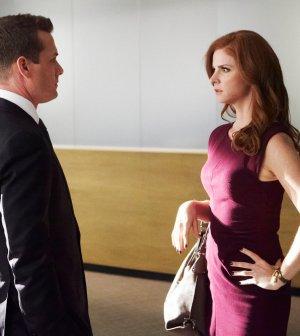 Pictured: (l-r) Gabriel Macht as Harvey Specter, Sarah Rafferty as Donna Paulsen -- (Photo by: Ian Watson/USA Network)