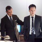 Pictured (L-R) Gabriel Macht as Harvey Specter. Patrick J. Adams as Mike Ross. (Photo by: Shane Mahood/USA Network)