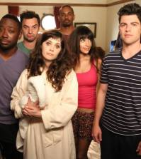 The gang (L-R: Lamorne Morris, Jake Johnson, Zooey Deschanel, guest star Damon Wayans, Jr., Hannah Simone and Max Greenfield) recovers after a rough night. Co. Cr: Adam Taylor/FOX