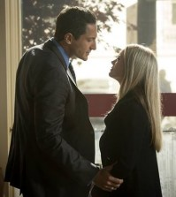 Pictured (L-R): Sasha Roiz as Captain Sean Renard, Claire Coffee as Adalind Schade --  ©  2014 NBC Network