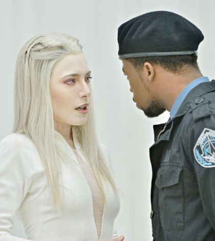 Pictured: (l-r) Jaime Murray as Stahma Tarr, Deshawn Williams as Tommy LaSalle -- (Photo by: Ben Mark Holzberg/Syfy)