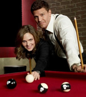 Emily Deschanel as Dr. Temperance Brennan and David Boreanaz as FBI Special Agent Seeley Booth in Fox's BONES. Co. Cr: Brian Bowen Smith/FOX
