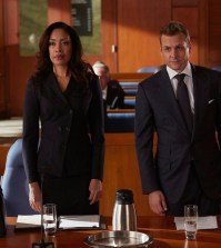 Pictured: (l-r) -- Gina Torres as Jessica Pearson and Gabriel Macht as Harvey Specter. (Photo by: Shane Mahood/USA Network)