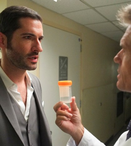 Pictured: (l-r) Tom Ellis as Dr. William Rush, Harry Hamlin as Dr. Warren Rush -- (Photo by: Alan Zenuk/USA Network)