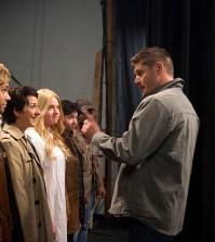 "Pictured (L-R): Alyssa Lynch as Shiobhan (""Dean""), Nina Winkler as Kristen (""Castiel""), Rachel Warkentin as Tammy (""Mary""), Kelli Ogmundson as Alice (""John""), Vivien Elizabeth as Katie (""Bobby""), Jensen Ackles as Dean, and Jared Padalecki as Sam -- Credit: Diyah Pera/The CW"