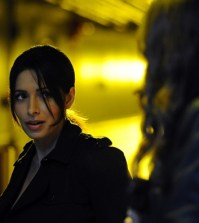 Pictured (L-R) : Sarah Shahi as Sameen Shaw, Amy Acker as Root. Image © CBS