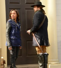 "chabod (Tom Mison, R) and Abbie (Nicole Behaire, L) in the ""Tempus Fugit"" Season Finale episode of SLEEPY HOLLOW"