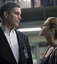 Pictured: Jim Caviezel as John Reese, Katheryn Winnick as Frankie Wells. Image © CBS