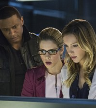 Pictured (L-R): David Ramsey as John Diggle, Emily Bett Rickards as Felicity Smoak and Katie Cassidy as Laurel Lance -- Photo: Cate Cameron/The CW