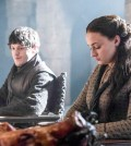 Pictured: Iwan Rheon as Ramsay Bolton, Sophie Turner as Sansa Stark Photographer: Helen Sloan/courtesy HBO