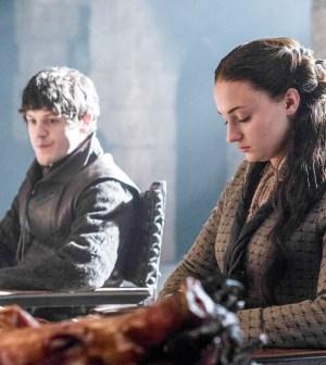 Pictured: Iwan Rheon as Ramsay Bolton, Sophie Turner as Sansa Stark Photographer: Helen Sloan/courtesy HBO
