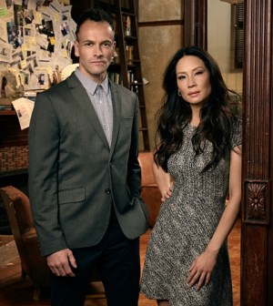 Pictured (L-R) Jonny Lee Miller as Sherlock Holmes and Lucy Liu as  Watson. Photo: Justin Stephens/CBS