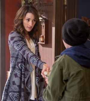 Pictured: (l-r) Bree Turner as Rosalee Calvert, Mason Cook as Peter -- (Photo by: Scott Green/NBC)