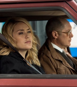 Pictured: (l-r) Megan Boone as Liz Keen, James Spader as Red Reddington -- (Photo by: David Giesbrecht/NBC)
