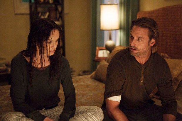 "COLONY -- ""Yoknapatawpha"" Episode 106 -- Pictured: (l-r) Sarah Wayne Callies as Katie Bowman, Josh Holloway as Will Bowman -- (Photo by: Isabella Vosmikova/USA Network)"