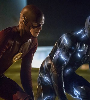 Pictured (L-R) Grant Gustin as The Flash and Zoom -- Photo: Katie Yu/The CW
