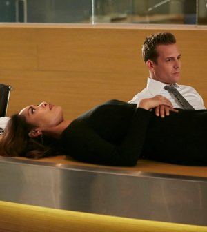 Pictured: (l-r) Gina Torres as Jessica Pearson, Gabriel Macht as Harvey Specter -- (Photo by: Ian Watson/USA Network)